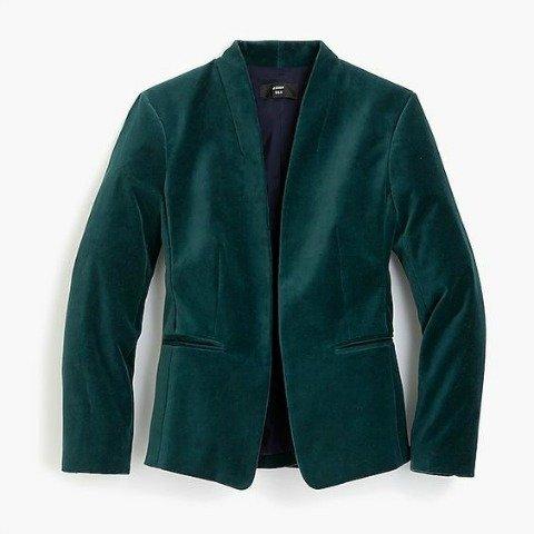 Dark green velvet blazer. Details at une femme d'un certain age.