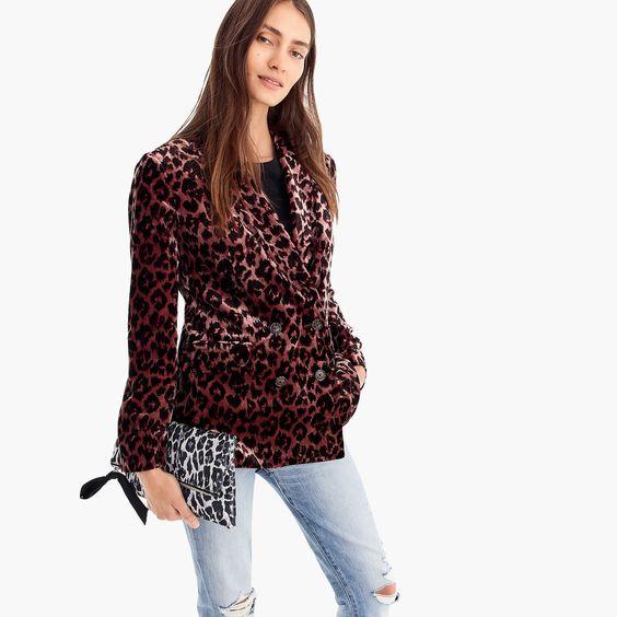 J.Crew velvet blazer rose leopard. Details at une femme d'un certain age.