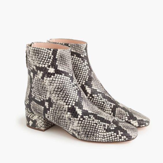 J.Crew snake print ankle boots. Details at une femme d'un certain age.