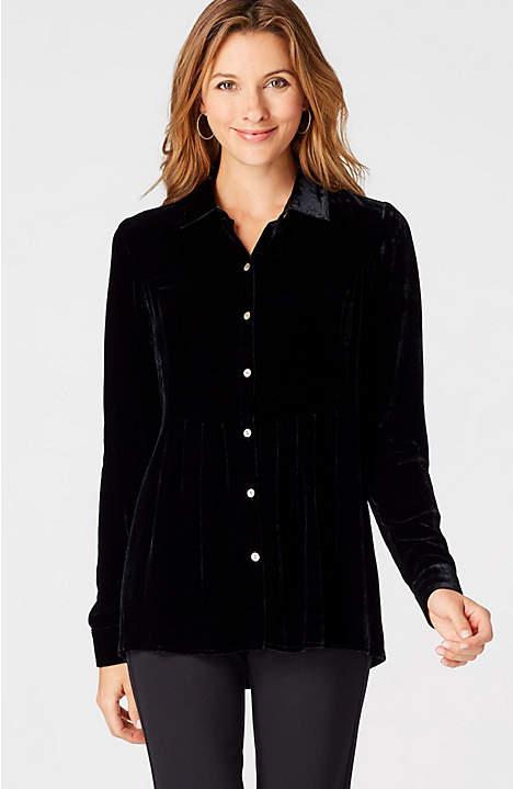 J.Jill black velvet shirt. Details at une femme d'un certain age.