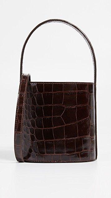 Staud crocodile embossed Bisset bag. Details at une femme d'un certain age.