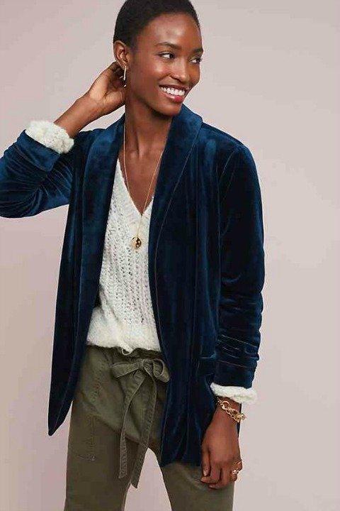 Blue velvet tie waist jacket. Details at une femme d'un certain age.