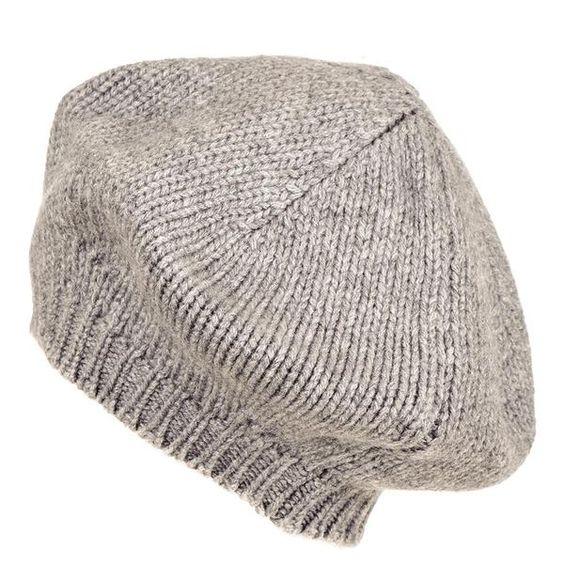 grey cashmere beret. Details at une femme d'un certain age.