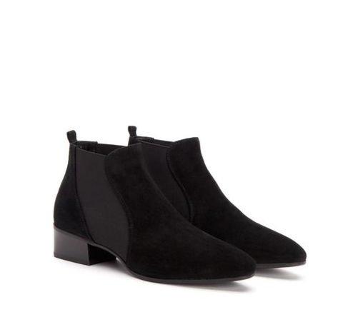 Aquatalia black suede water-resistant boots. Details at une femme d'un certain age.