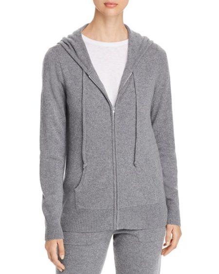Grey cashmere hoodie, great piece for travel. Details at une femme d'un certain age.