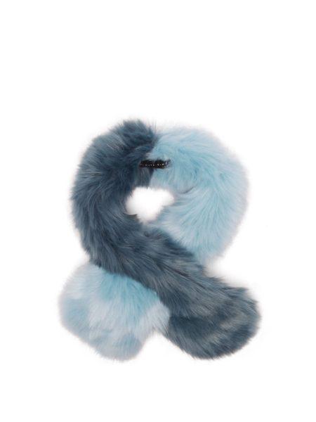 Charlotte Simone blue faux fur scarf. Details at une femme d'un certain age.
