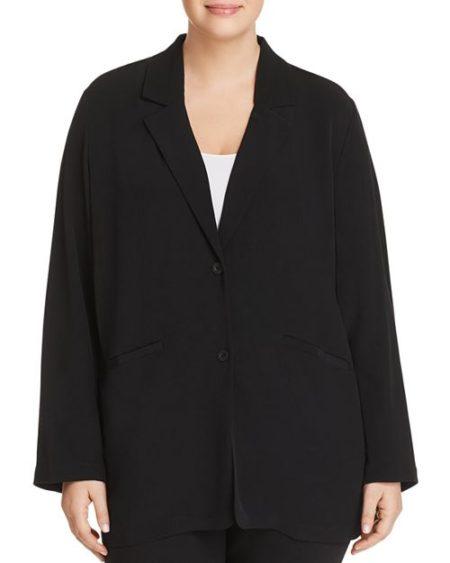 Eileen Fisher Plus relaxed blazer black. Details at une femme d'un certain age.