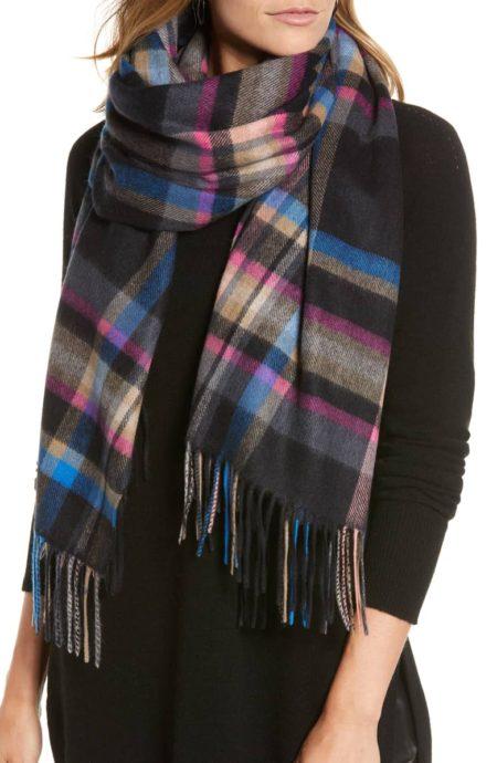 Halogen plaid cashmere scarf. Details at une femme d'un certain age.