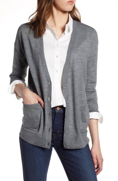 Halogen v-neck grey merino cardigan. Details at une femme d'un certain age.
