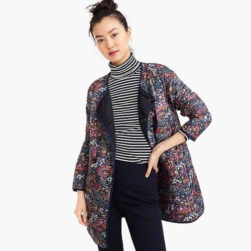 J.Crew Liberty print reversible puffer jacket. Details at une femme d'un certain age.