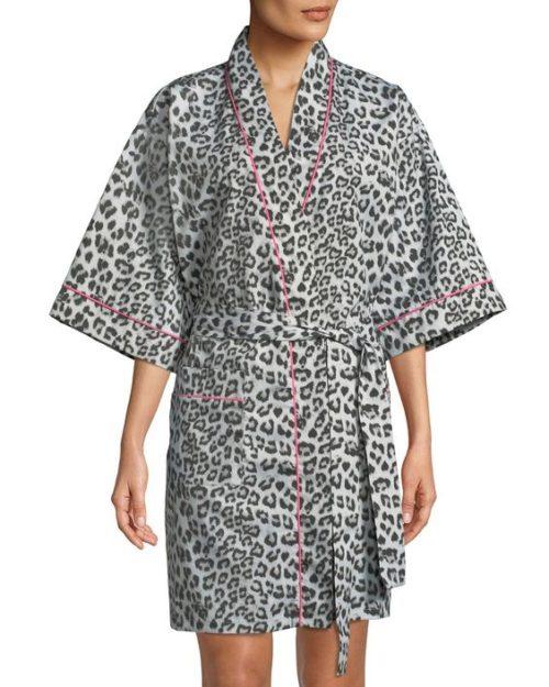 Bedhead kimono robe in leopard print. Details at une femme d'un certain age.