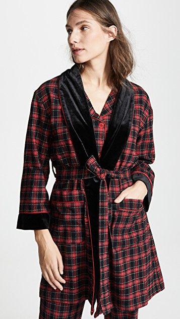 Bedhead cotton robe in red plaid print. Details at une femme d'un certain age.