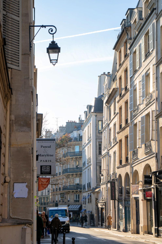 Winter in Paris: Saint Germain street scene. Details at une femme d'un certain age.