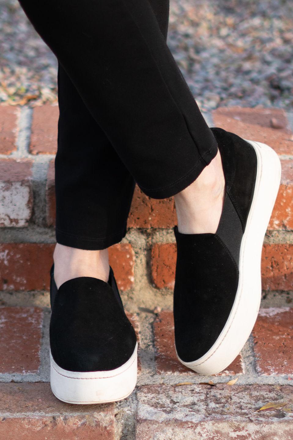 Detail: Susan B. wears Vince Warren slip-on sneakers. More at une femme d'un certain age.