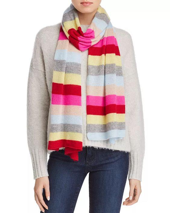 Aqua striped cashmere scarf. Details at une femme d'un certain age.
