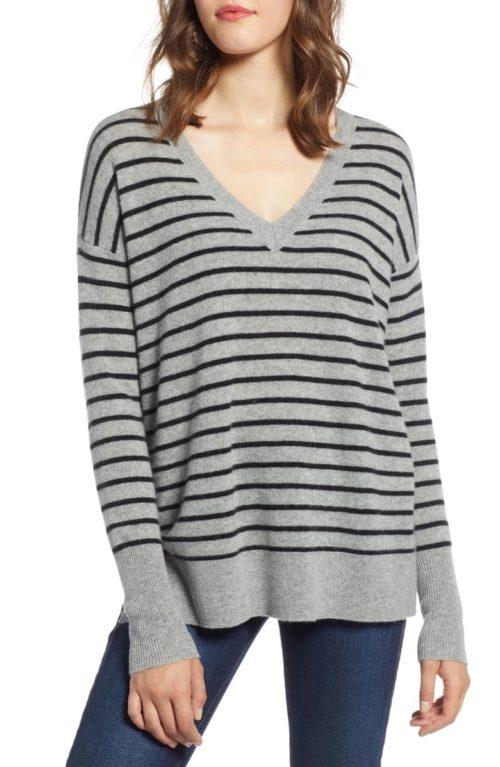 Halogen v-neck striped sweater in grey and black. Details at more v-neck tops at une femme d'un certain age.