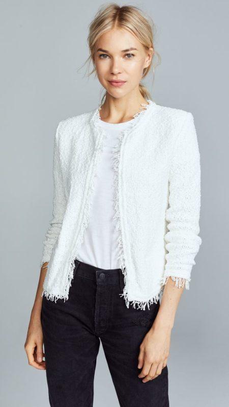 IRO knit tweed jacket in Ecru. Details at une femme d'un certain age.