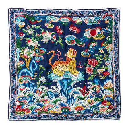 Silk square scarf in Asian leopard print. Details at une femme d'un certain age.