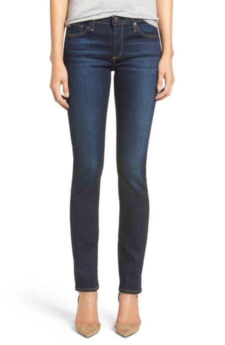 AG Harper slim straight-leg jeans. Details at une femme d'un certain age.