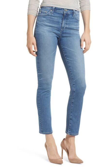 AG Jeans Mari high rise slim straight leg jeans. Details at une femme d'un certain age.