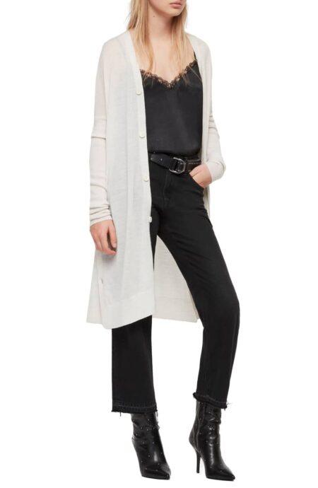 AllSaints merino wool duster cardigan. Details at une femme d'un certain age.