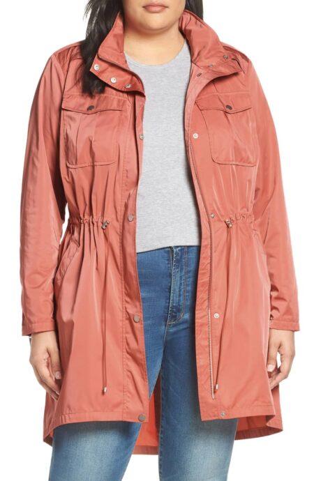 Badgley Mischka Dakota plus size raincoat in Daiquiri. More travel raincoats at une femme d'un certain age.