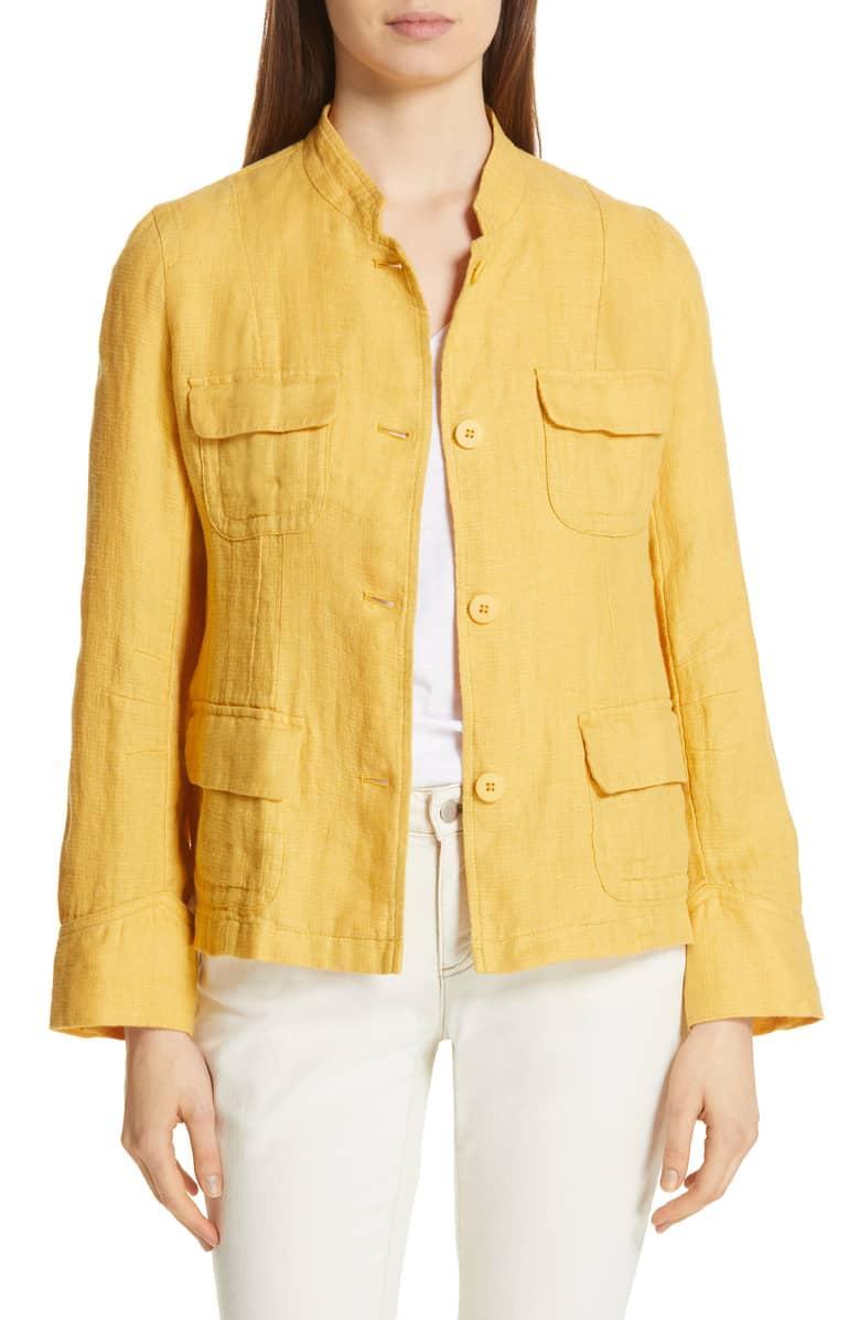 Eileen Fisher linen utility jacket marigold. Details at une femme d'un certain age.