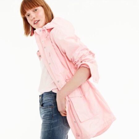 J.Crew Perfect Rain jacket in light pink. Details at une femme d'un certain age.
