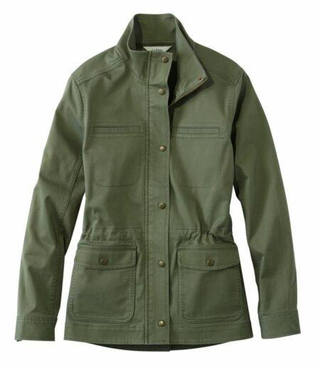 LL Bean classic utility jacket in olive. Details at une femme d'un certain age.