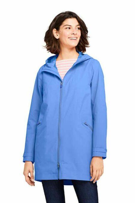Lands' End stretch raincoat in blue. Details at une femme d'un certain age.