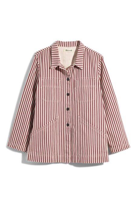 madewell stripe chore coat. Details at une femme d'un certain age.