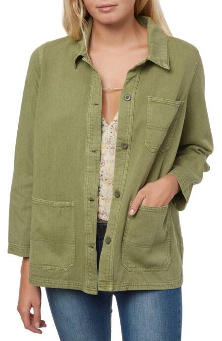 O'Neill La Seine chore jacket in olive. Details at une femme d'un certain age.