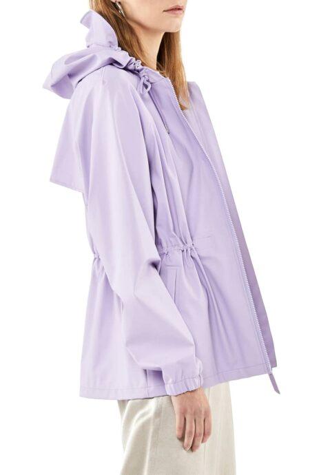 RAINS waterproof parka in lavender. Details and more spring raincoats at une femme d'un certain age.