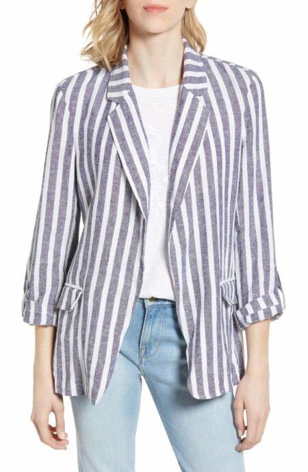 Caslon linen blazer in white and navy stripe. Details at une femme d'un certain age.