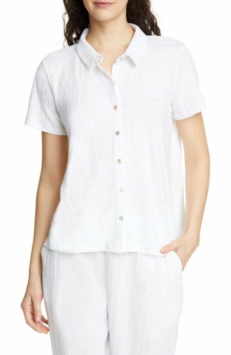 Eileen Fisher linen jersey button front shirt. Details at une femme d'un certain age.