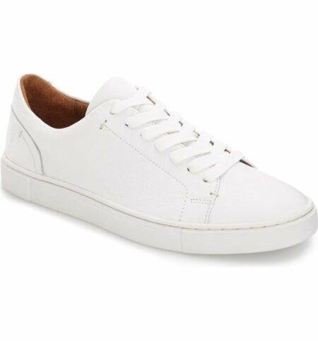 Frye Ivy lace up sneaker, white. Details at une femme d'un certain age.