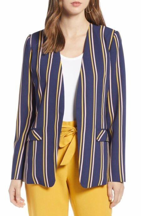 Halogen navy striped jacket. Details at une femme d'un certain age.