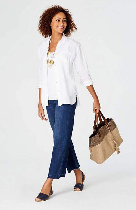 J.Jill linen button-front shirt in white, worn open over jeans. Details at une femme d'un certain age.