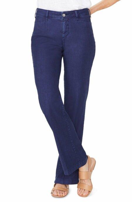 NYDJ linen-blend 5 pocket trousers. Details at une femme d'un certain age.
