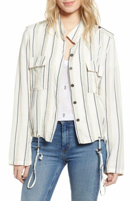 Striped linen-blend utility jacket from Rails. Details at une femme d'un certain age.