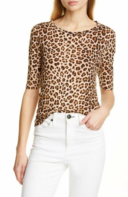 Rebecca Taylor linen slub jersey tee in leopard print. Details at une femme d'un certain age.