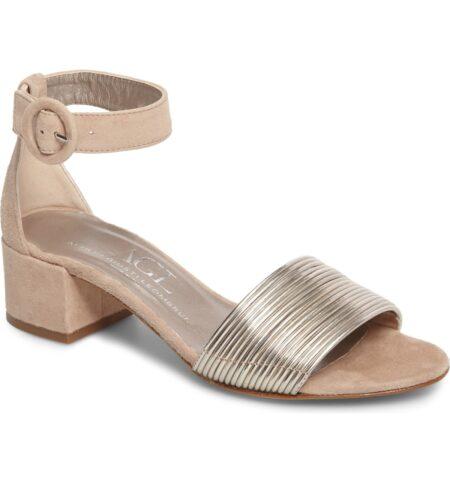 AGL metallic ankle strap sandals. Details at une femme d'un certain age.