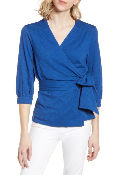 Caslon cotton jersey wrap top in royal blue. Details at une femme d'un certain age.
