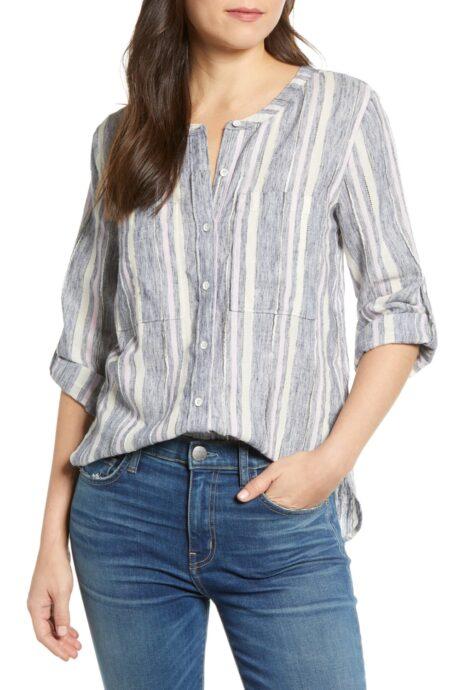 Caslon striped long sleeve top. Details at une femme d'un certain age.