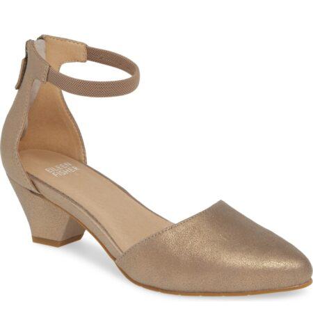Eileen Fisher d'orsay ankle strap pump in metallic suede. Details at une femme d'un certain age.