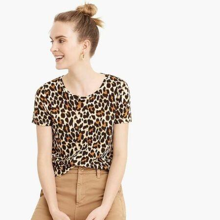 J.Crew leopard print tee vintage cotton. Details at une femme d'un certain age.