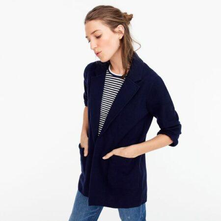 J.Crew Sophie sweater blazer in navy. Details at une femme d'un certain age.