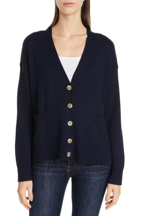 Nordstrom signature cashmere-linen blend v-neck cardigan. Details at une femme d'un certain age.