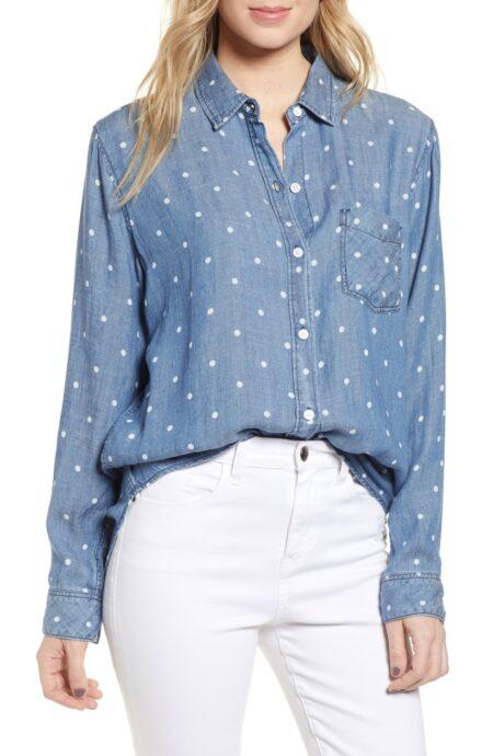 Rails polka dot chambray shirt. Details at une femme d'un certain age.