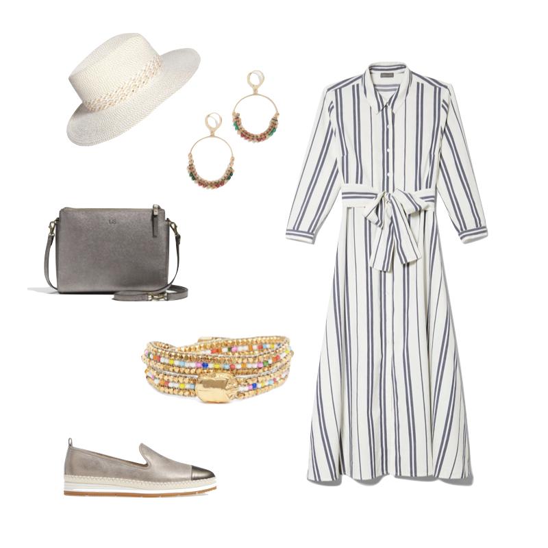 Summer travel look with linen-cotton striped dress. Details at une femme d'un certain age.